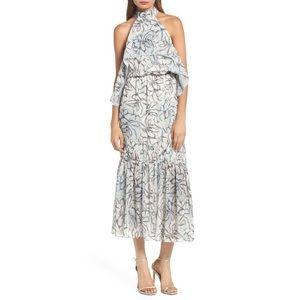 Foxiedox Amina Pompom Halter Tea Length Dress M